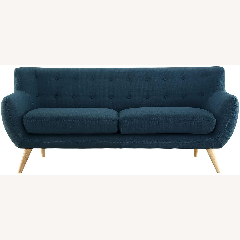 Modern Sofa In Azure Plush Dual Cushion - image-0