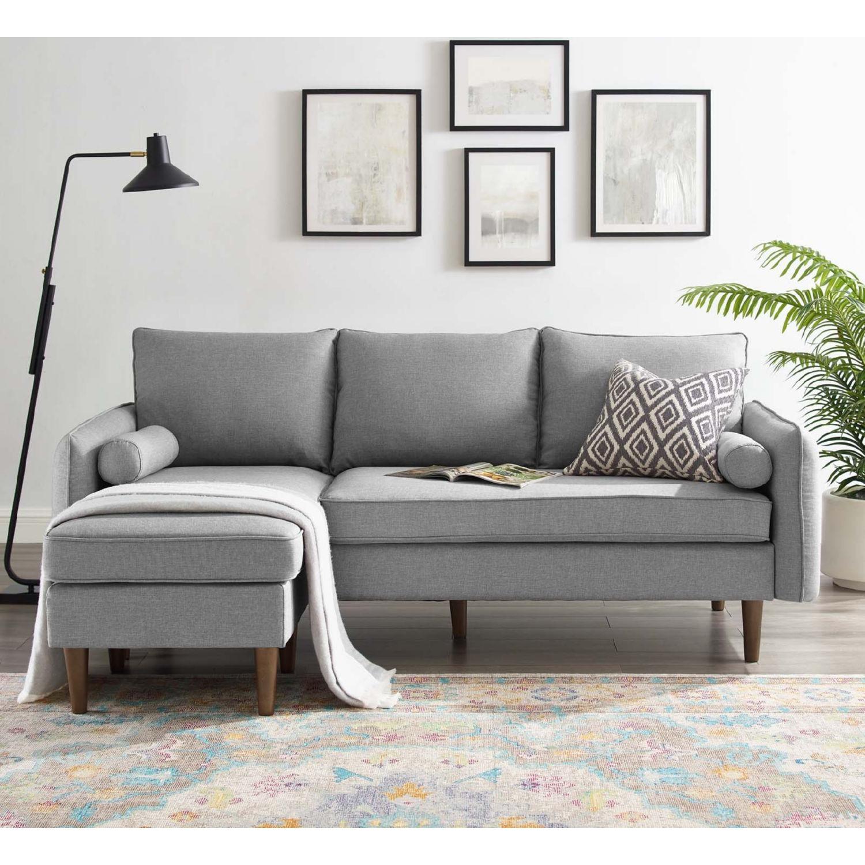 Sectional Sofa In Light Gray W/ Dense Foam Padding - image-8