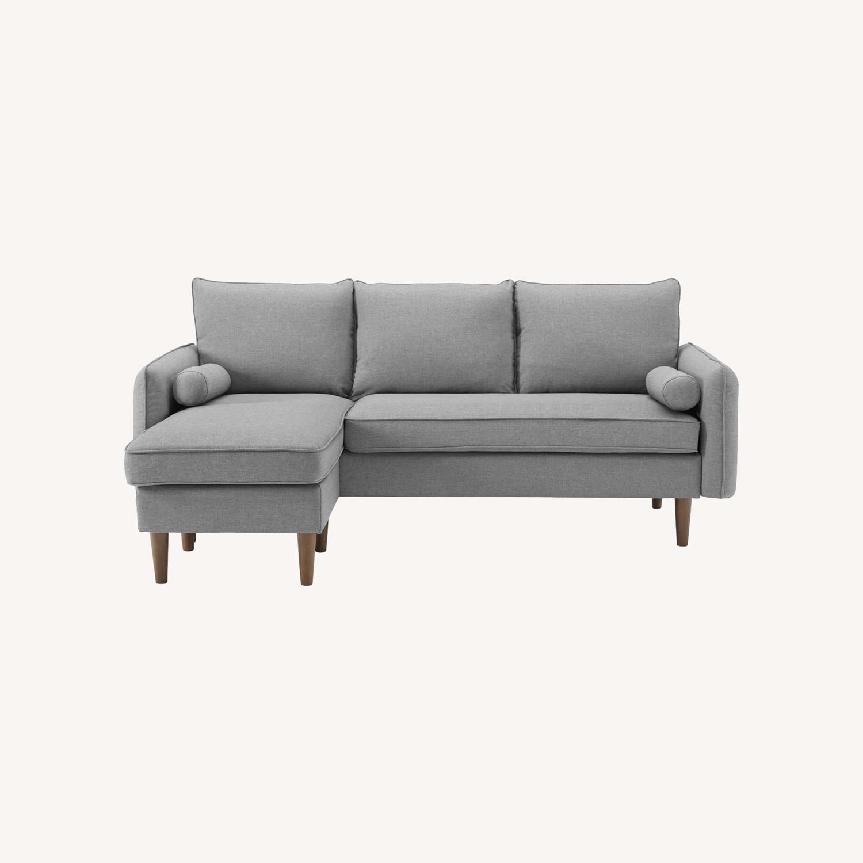 Sectional Sofa In Light Gray W/ Dense Foam Padding - image-10