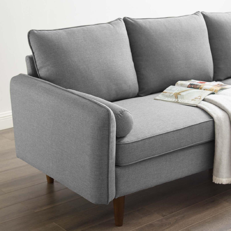 Sectional Sofa In Light Gray W/ Dense Foam Padding - image-6