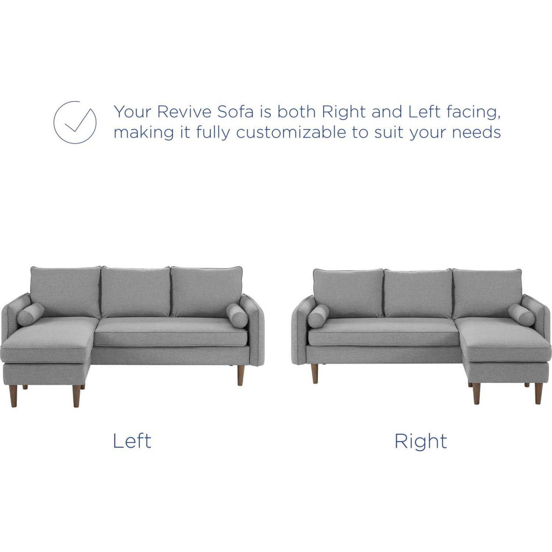 Sectional Sofa In Light Gray W/ Dense Foam Padding - image-7