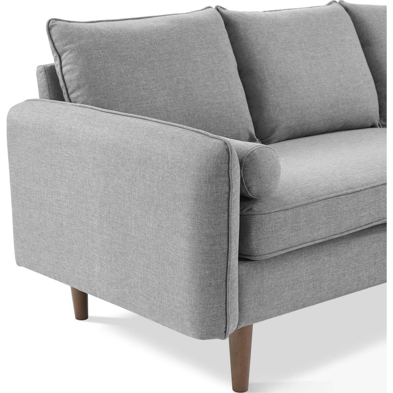 Sectional Sofa In Light Gray W/ Dense Foam Padding - image-5