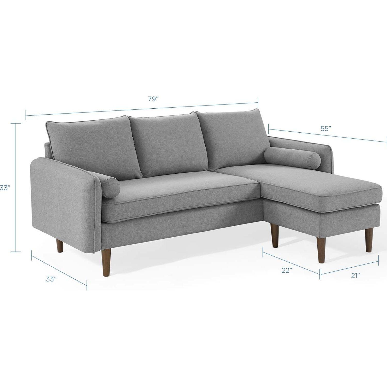 Sectional Sofa In Light Gray W/ Dense Foam Padding - image-9