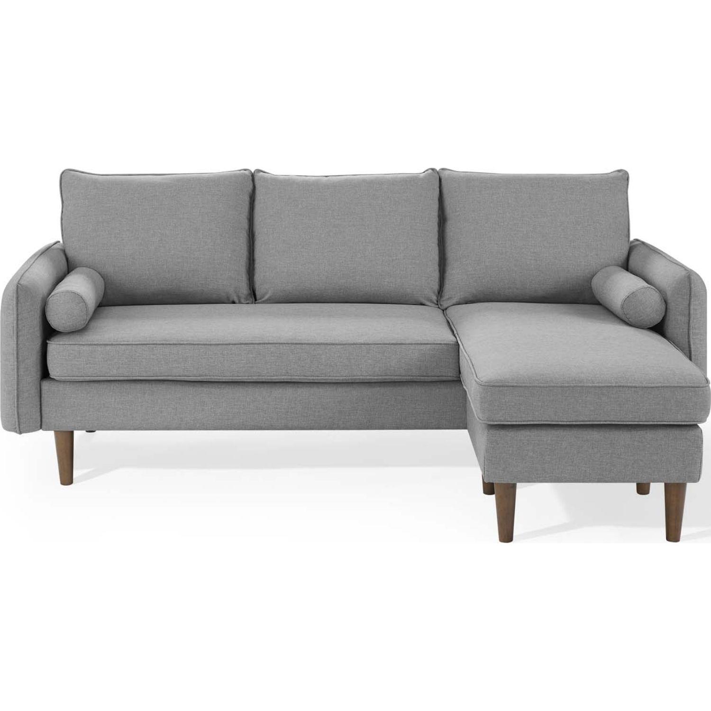 Sectional Sofa In Light Gray W/ Dense Foam Padding - image-4