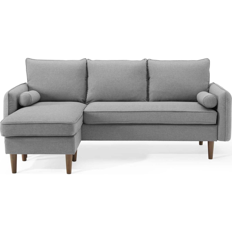 Sectional Sofa In Light Gray W/ Dense Foam Padding - image-3