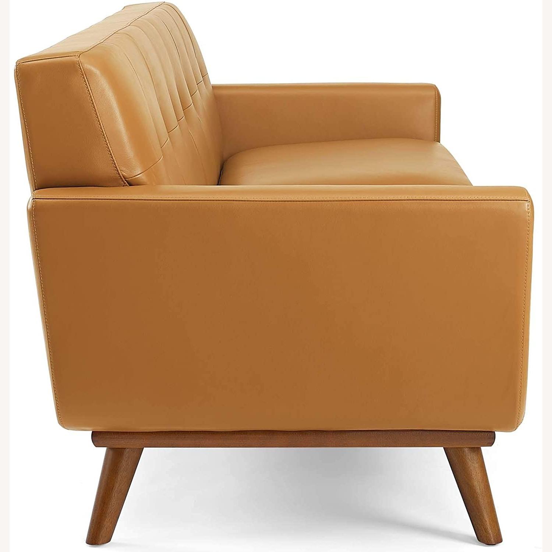 Modern Lounge Sofa In Tan Leather Finish - image-1