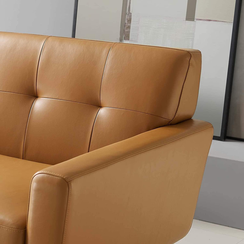 Modern Lounge Sofa In Tan Leather Finish - image-4