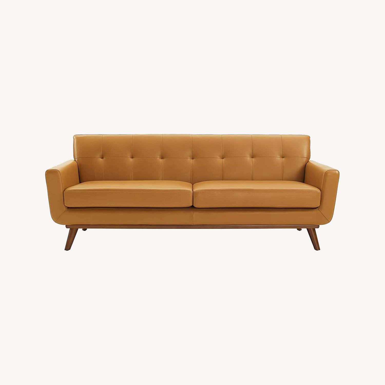 Modern Lounge Sofa In Tan Leather Finish - image-8