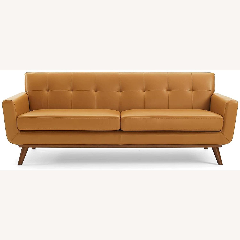 Modern Lounge Sofa In Tan Leather Finish - image-3
