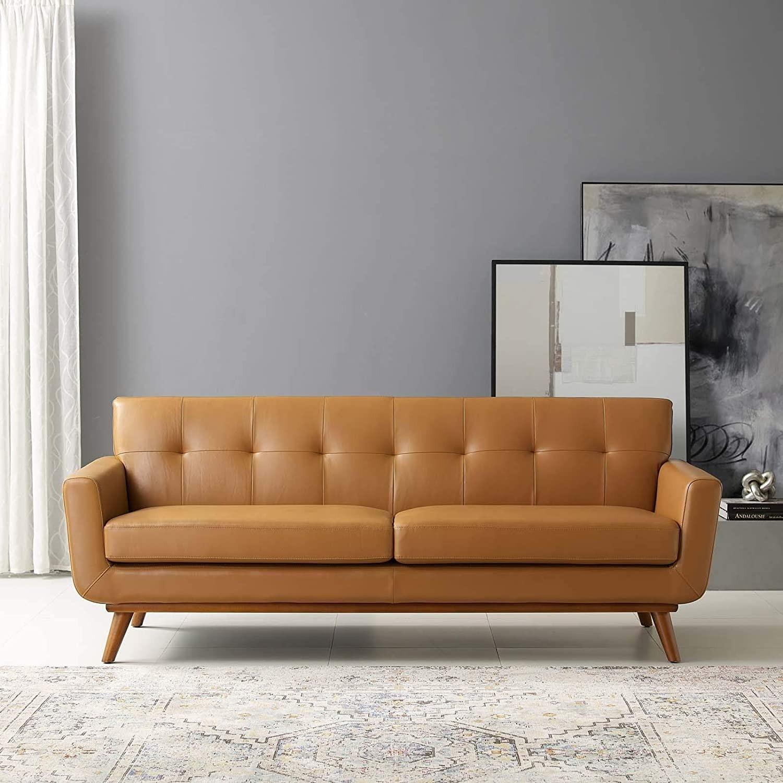 Modern Lounge Sofa In Tan Leather Finish - image-5