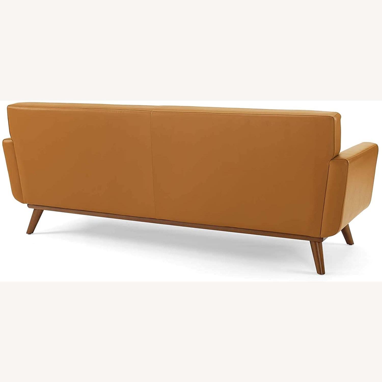 Modern Lounge Sofa In Tan Leather Finish - image-2