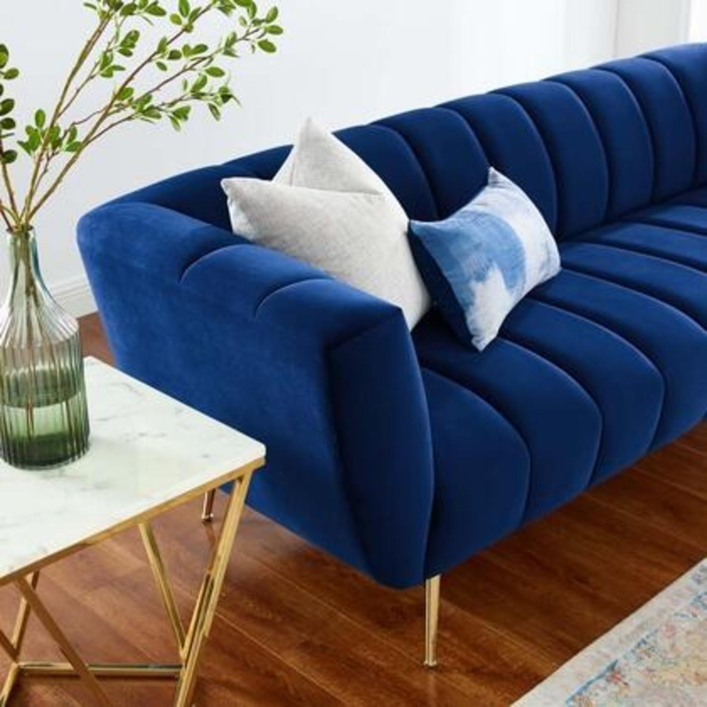 Mid-Century Style Sofa In Navy Performance Velvet - image-5