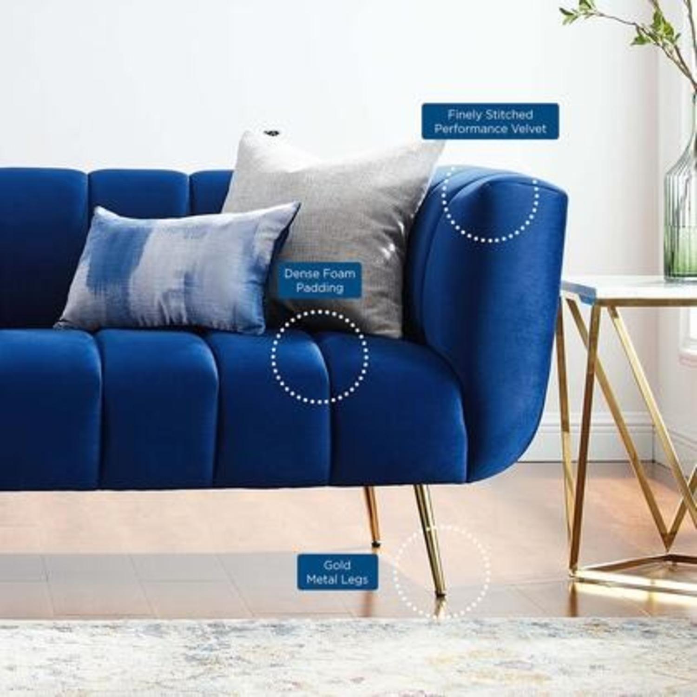 Mid-Century Style Sofa In Navy Performance Velvet - image-6