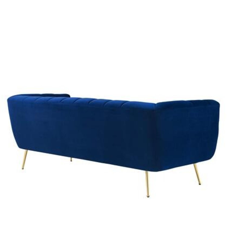 Mid-Century Style Sofa In Navy Performance Velvet - image-2
