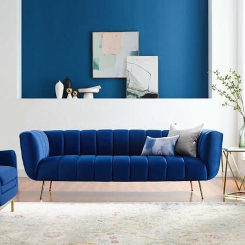 Mid-Century Style Sofa In Navy Performance Velvet - image-7