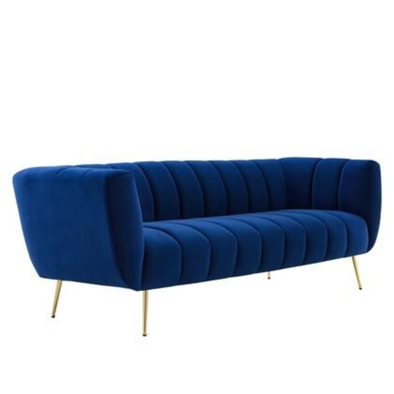 Mid-Century Style Sofa In Navy Performance Velvet - image-0