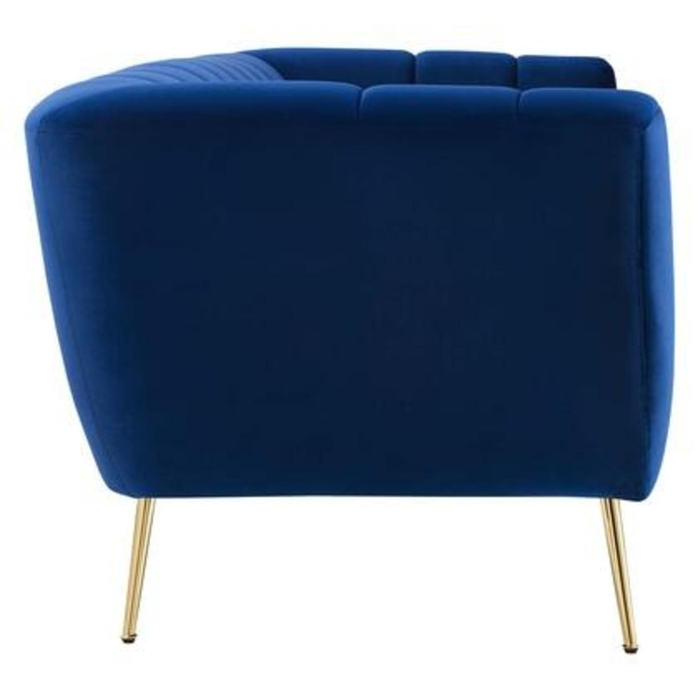 Mid-Century Style Sofa In Navy Performance Velvet - image-1