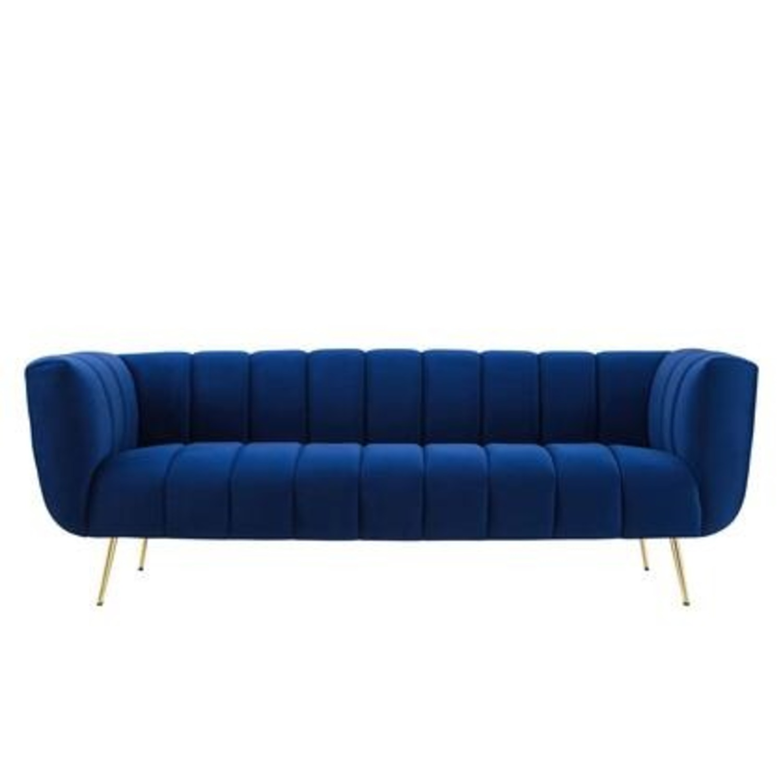 Mid-Century Style Sofa In Navy Performance Velvet - image-3