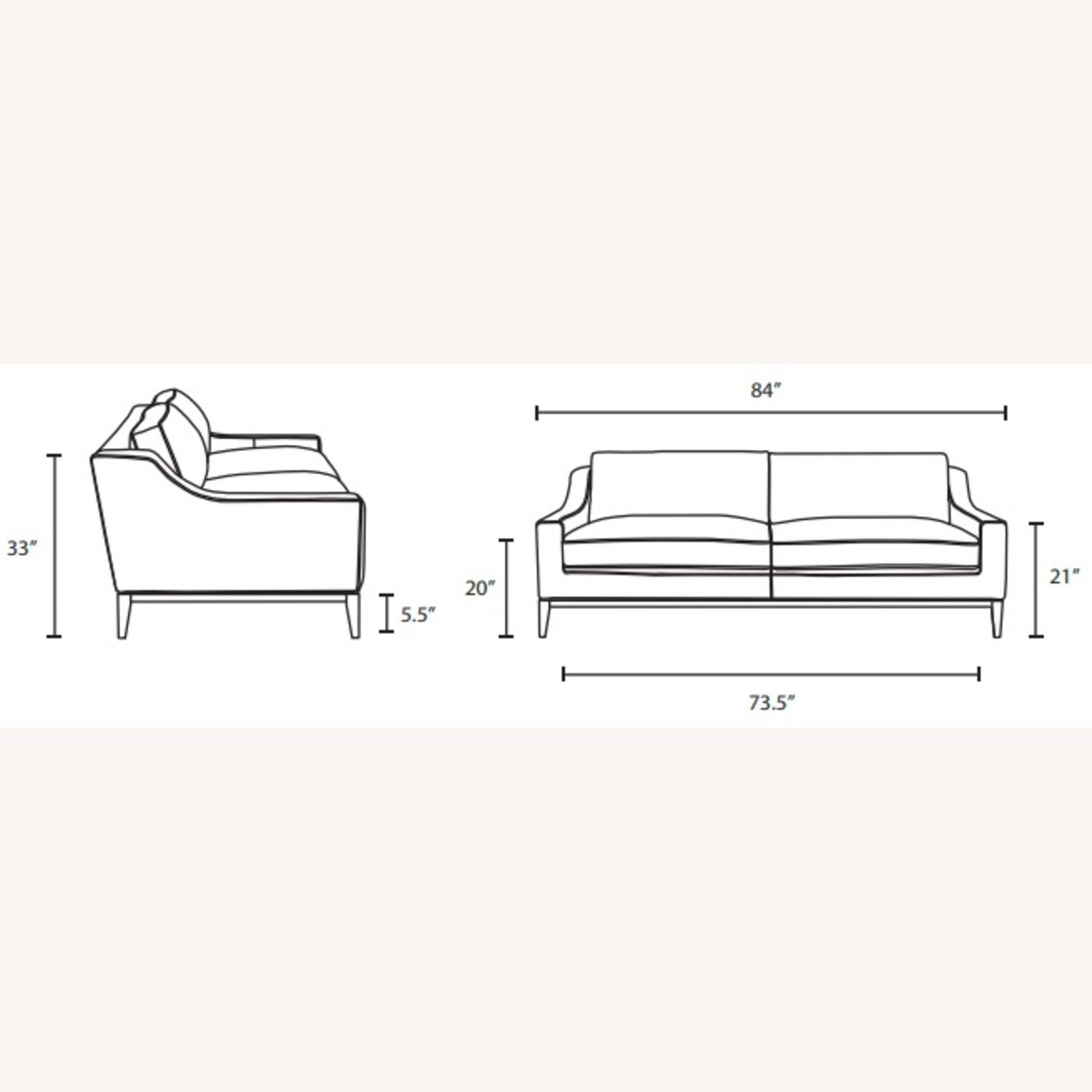 Sofa In Gray Leather Upholstery W/ Steel Base - image-8