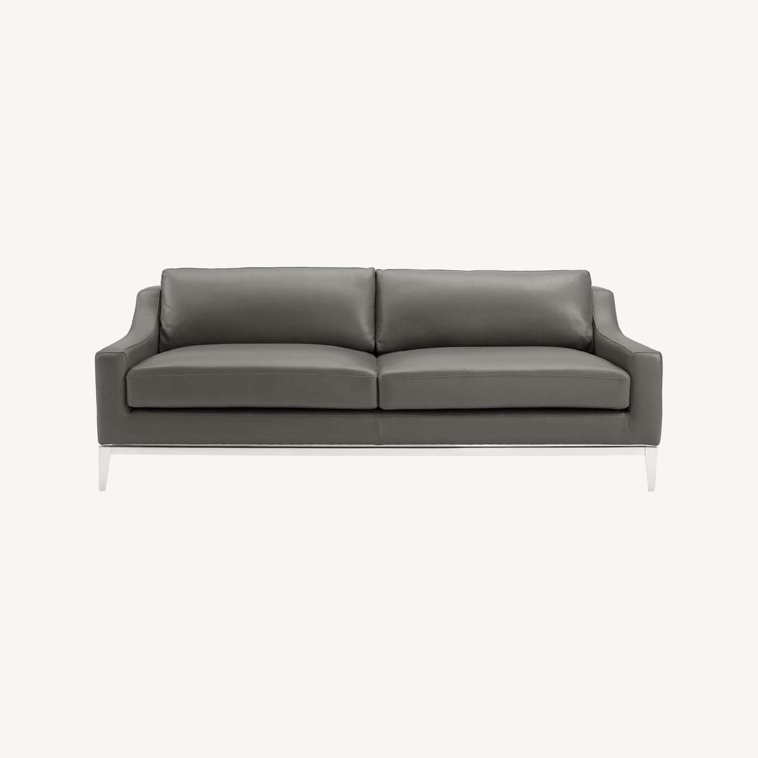 Sofa In Gray Leather Upholstery W/ Steel Base - image-9