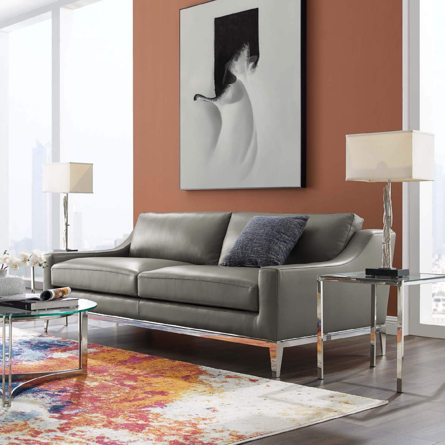 Sofa In Gray Leather Upholstery W/ Steel Base - image-6