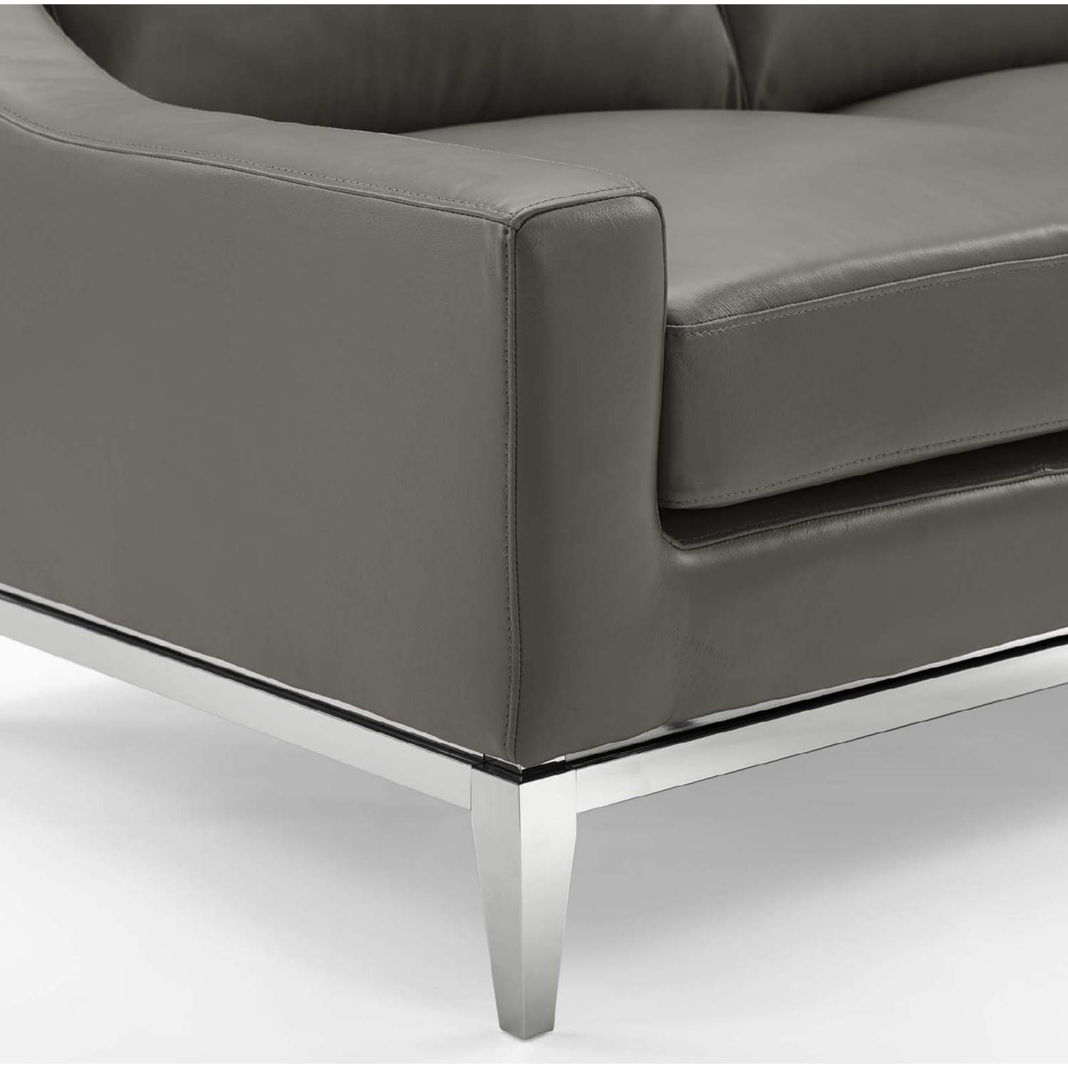 Sofa In Gray Leather Upholstery W/ Steel Base - image-4