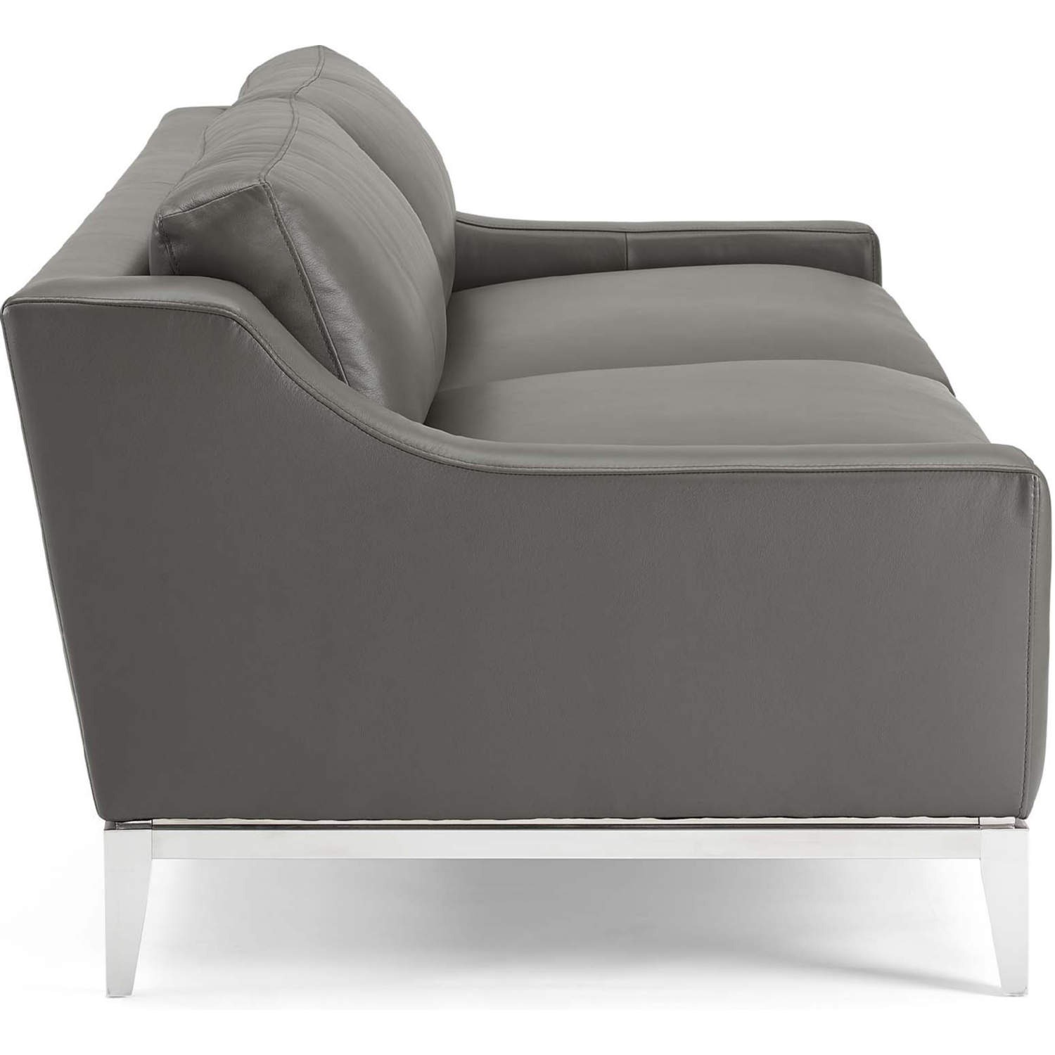 Sofa In Gray Leather Upholstery W/ Steel Base - image-1