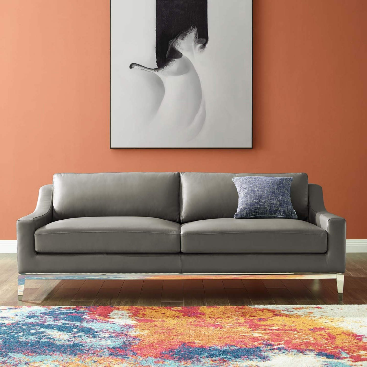 Sofa In Gray Leather Upholstery W/ Steel Base - image-7