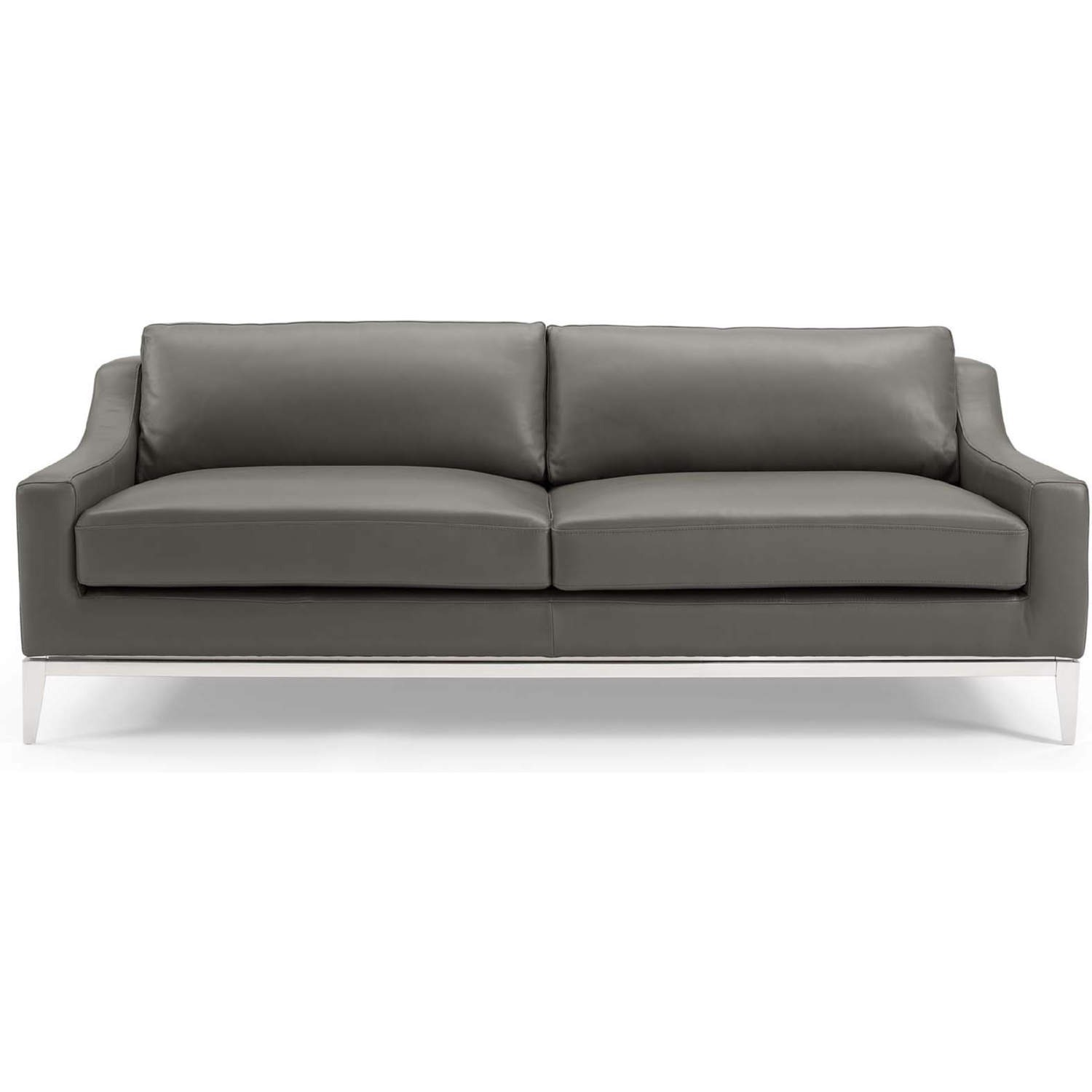 Sofa In Gray Leather Upholstery W/ Steel Base - image-3