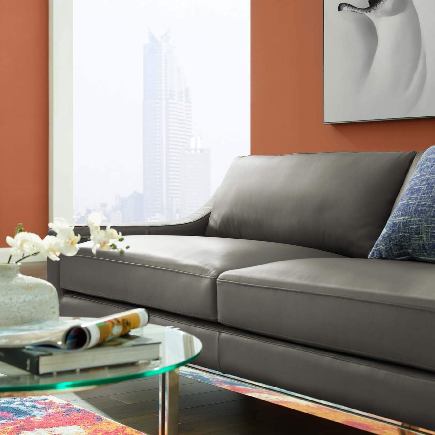Sofa In Gray Leather Upholstery W/ Steel Base - image-5