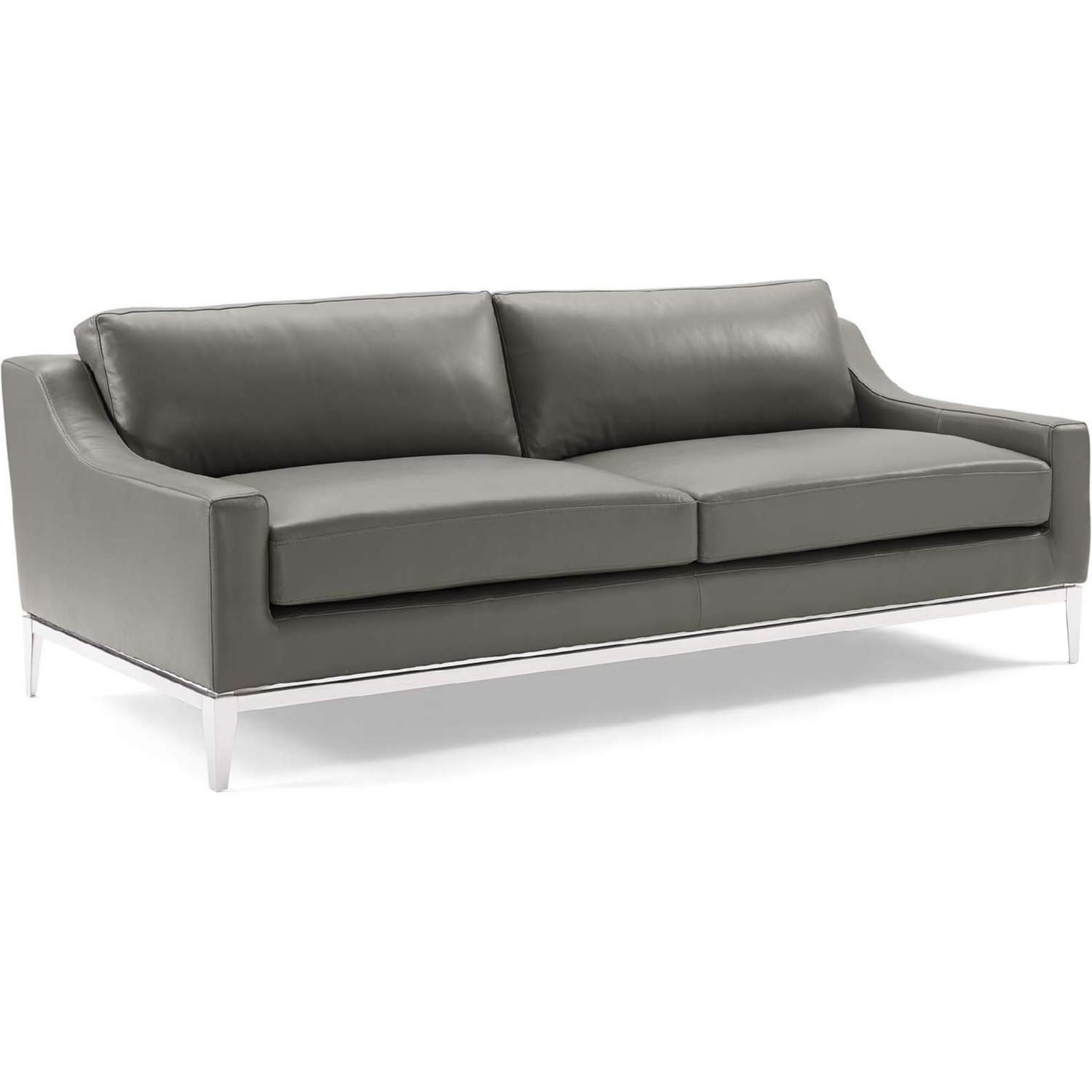 Sofa In Gray Leather Upholstery W/ Steel Base - image-0