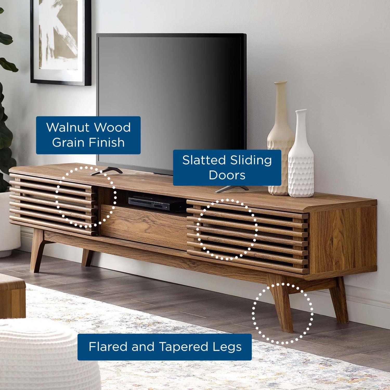 "Modern 70"" TV Stand In Walnut Grain Veneer - image-4"