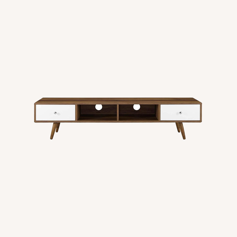"Modern 70"" TV Stand In Walnut & White Wood Finish - image-5"