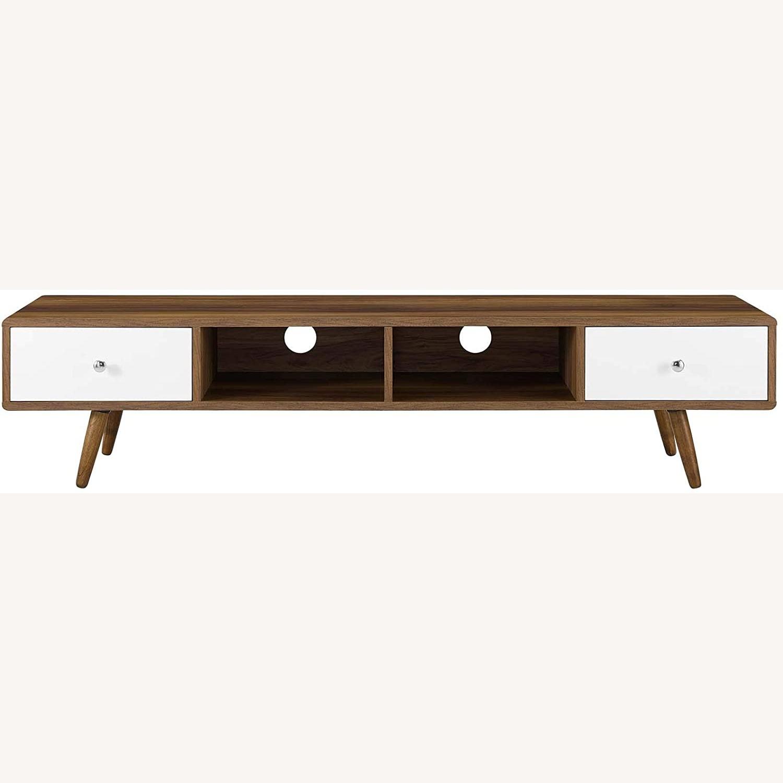 "Modern 70"" TV Stand In Walnut & White Wood Finish - image-2"