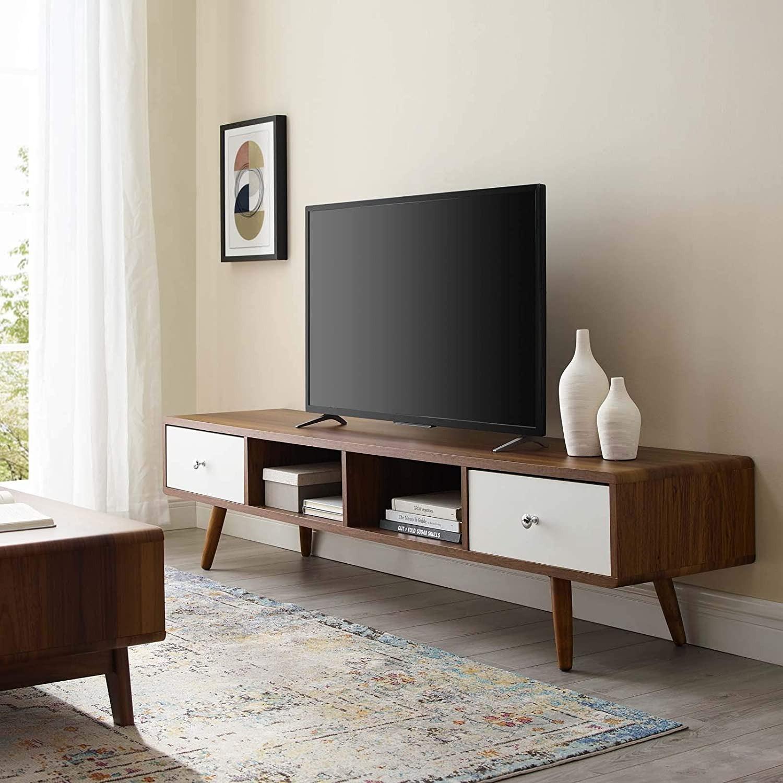 "Modern 70"" TV Stand In Walnut & White Wood Finish - image-3"
