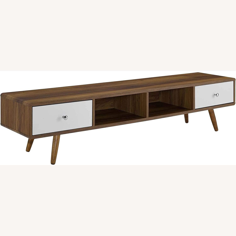 "Modern 70"" TV Stand In Walnut & White Wood Finish - image-0"