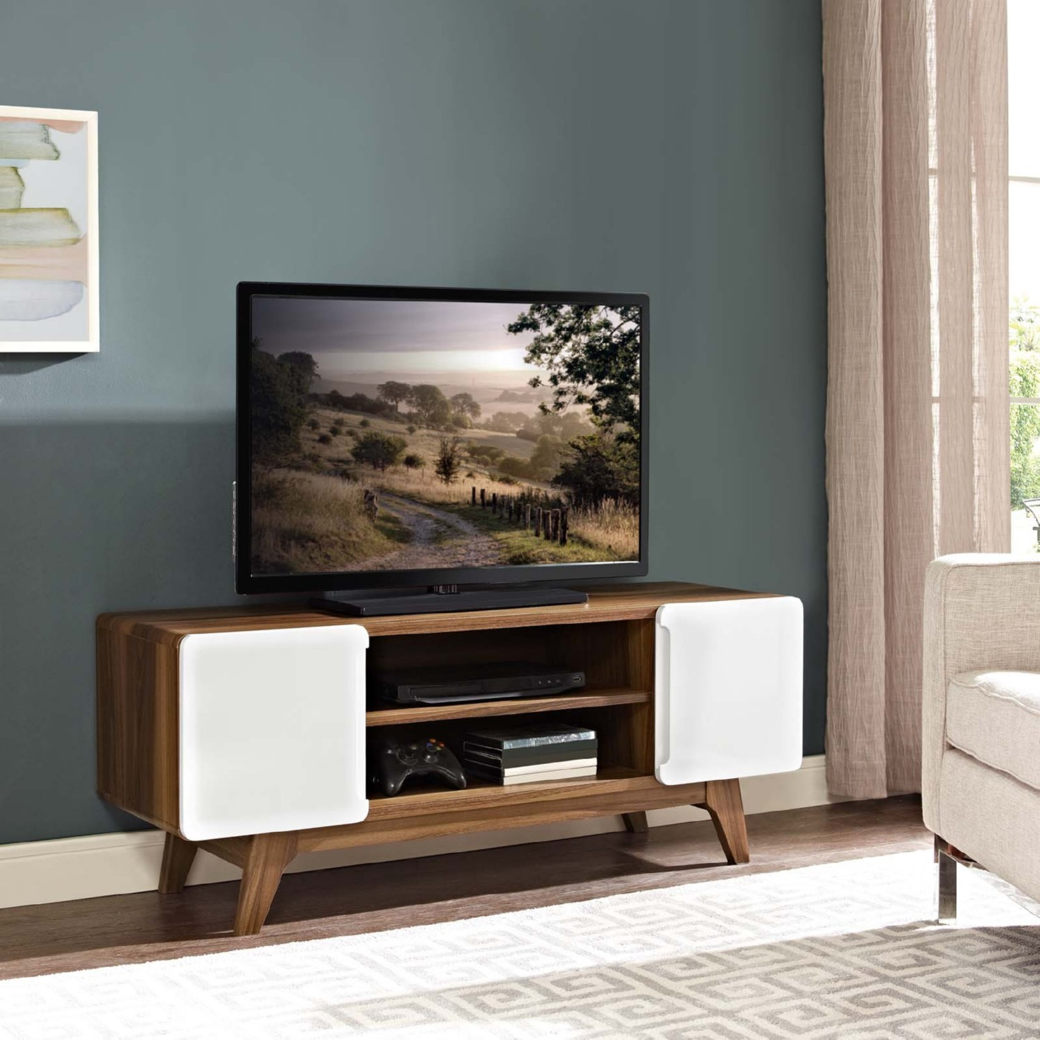 """47"""" TV Stand In Walnut & White Finish - image-3"""