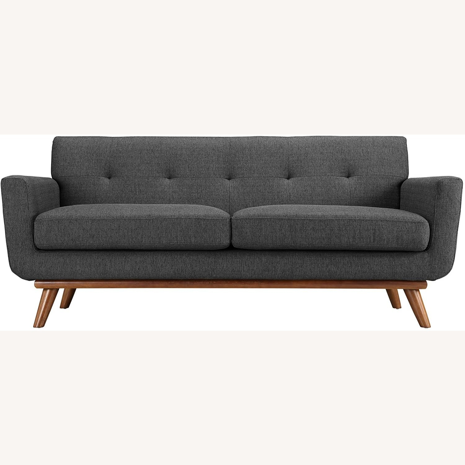 Modern Loveseat In Gray Fabric Upholstery - image-1