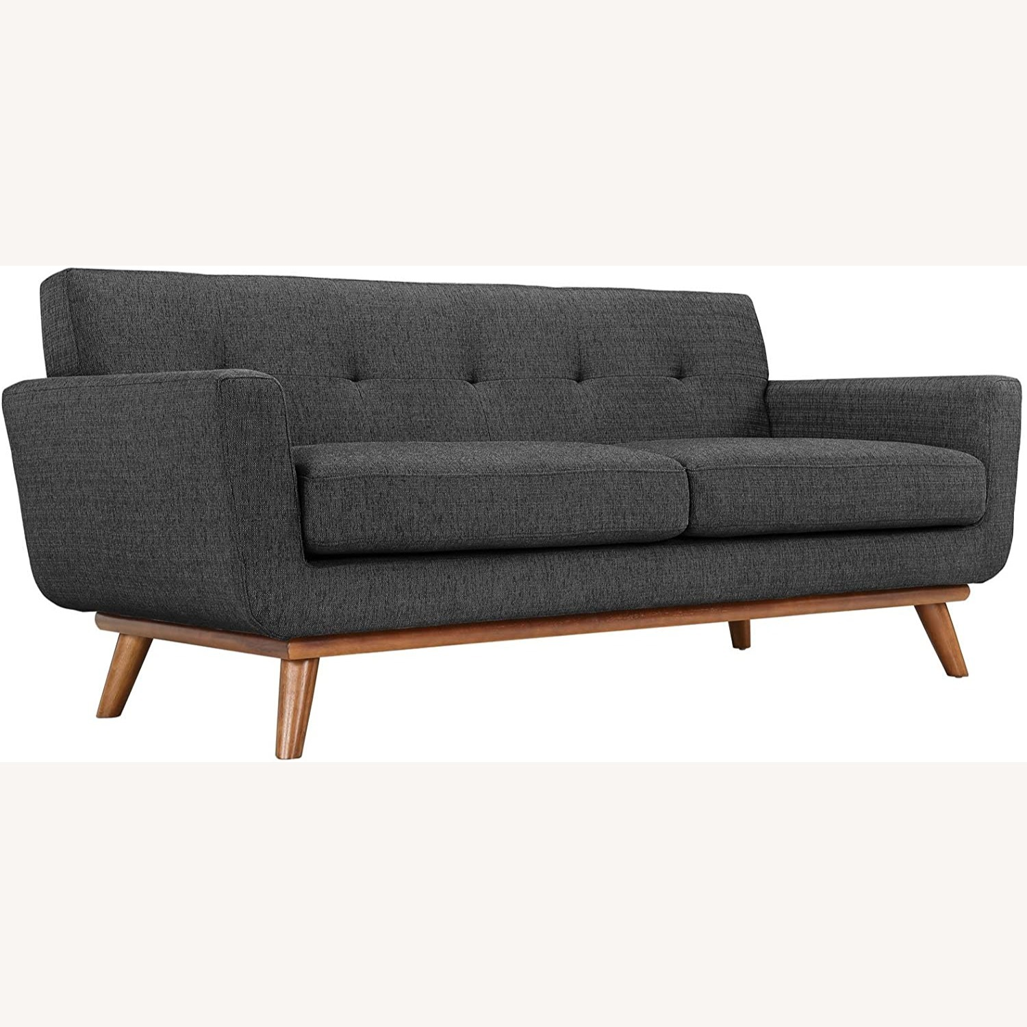 Modern Loveseat In Gray Fabric Upholstery - image-0