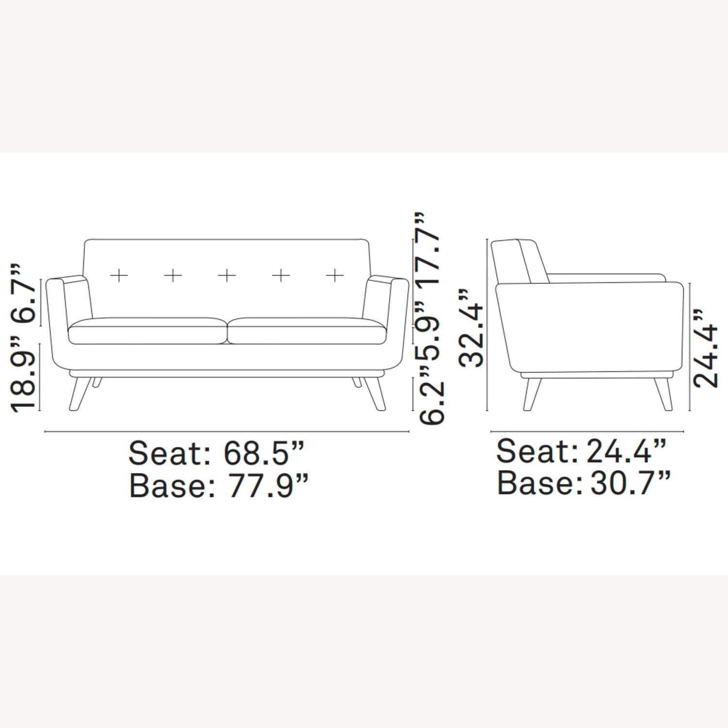 Modern Loveseat In Gray Fabric Upholstery - image-4