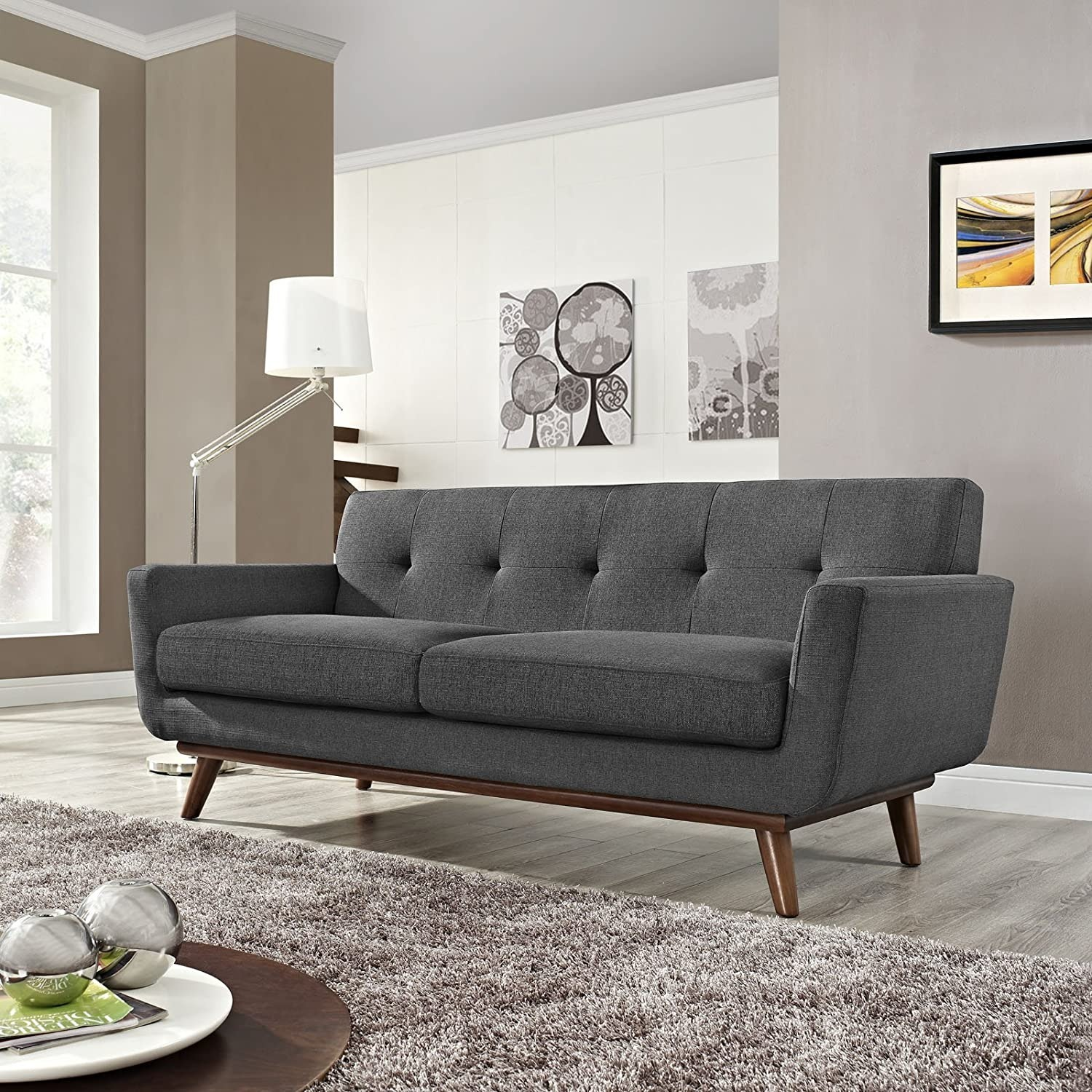 Modern Loveseat In Gray Fabric Upholstery - image-3