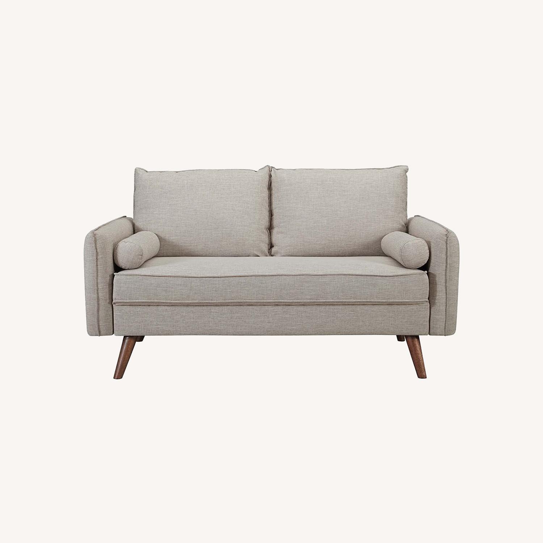 Modern Loveseat In Beige Fabric Upholstery - image-7