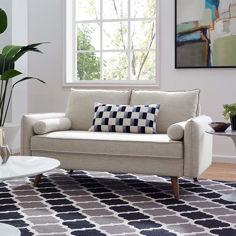 Modern Loveseat In Beige Fabric Upholstery - image-5