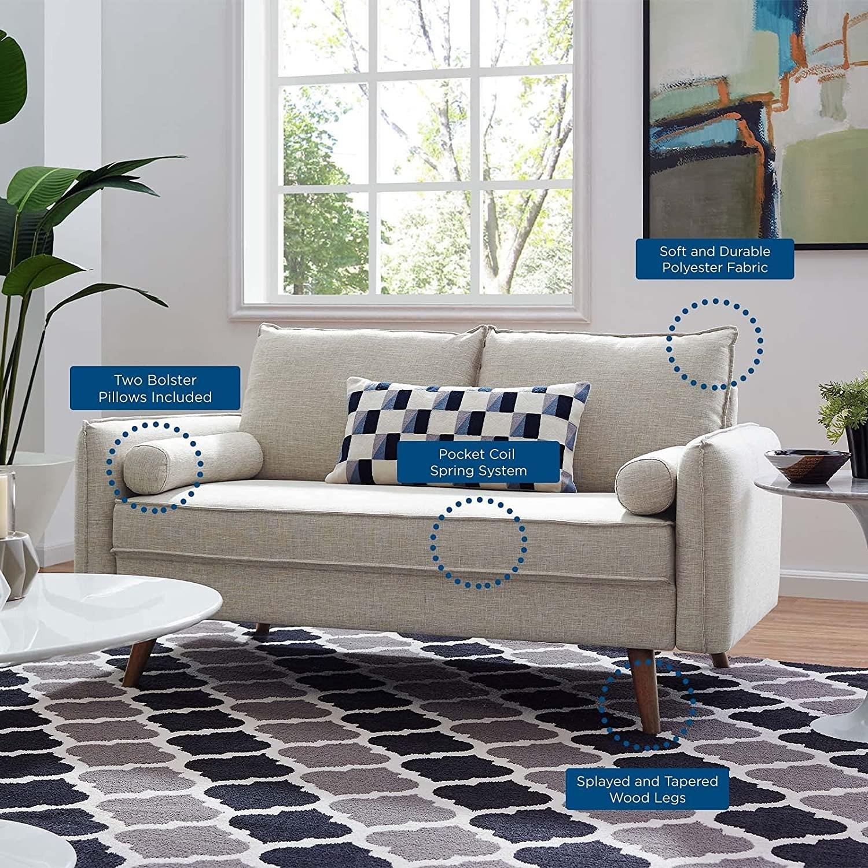 Modern Loveseat In Beige Fabric Upholstery - image-4