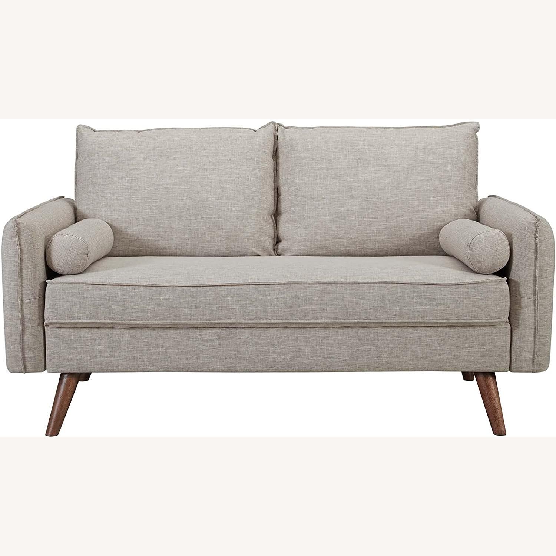 Modern Loveseat In Beige Fabric Upholstery - image-1