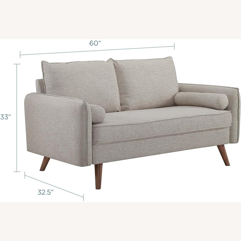 Modern Loveseat In Beige Fabric Upholstery - image-3
