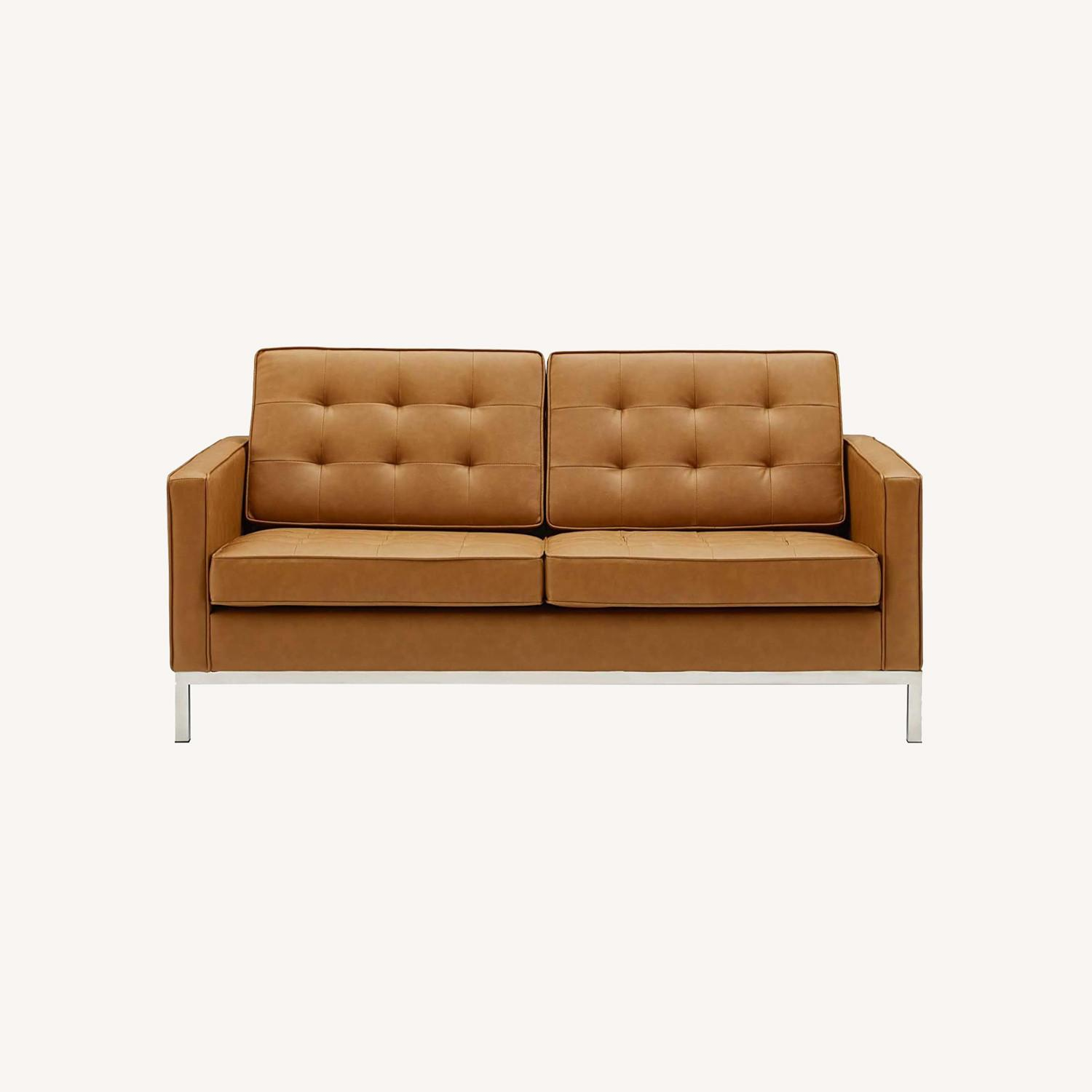 Modern Loveseat In Silver Tan Faux Leather Finish - image-6