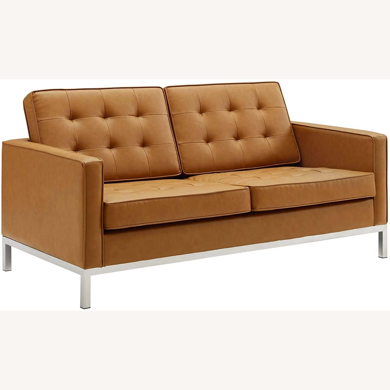 Modern Loveseat In Silver Tan Faux Leather Finish - image-0