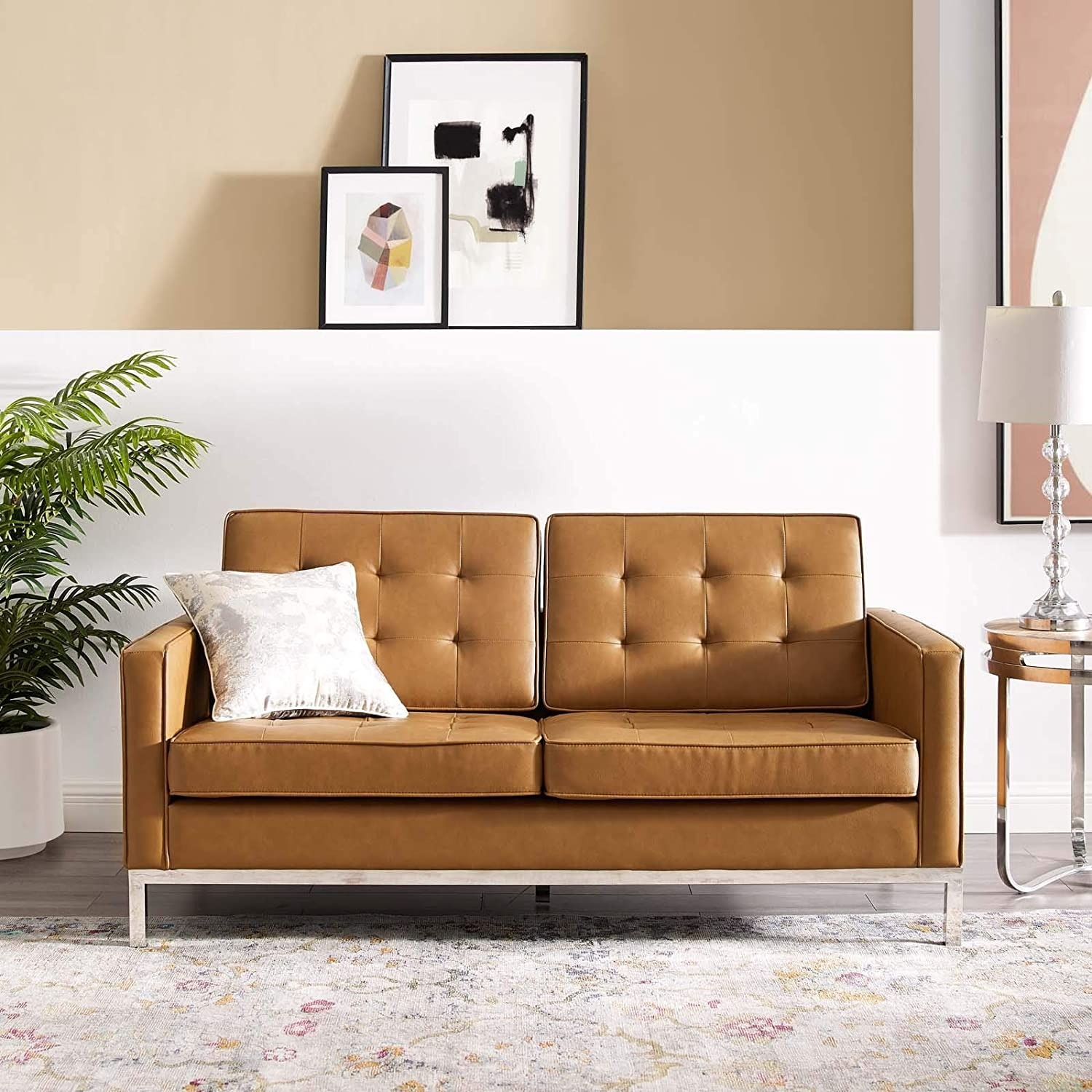 Modern Loveseat In Silver Tan Faux Leather Finish - image-4