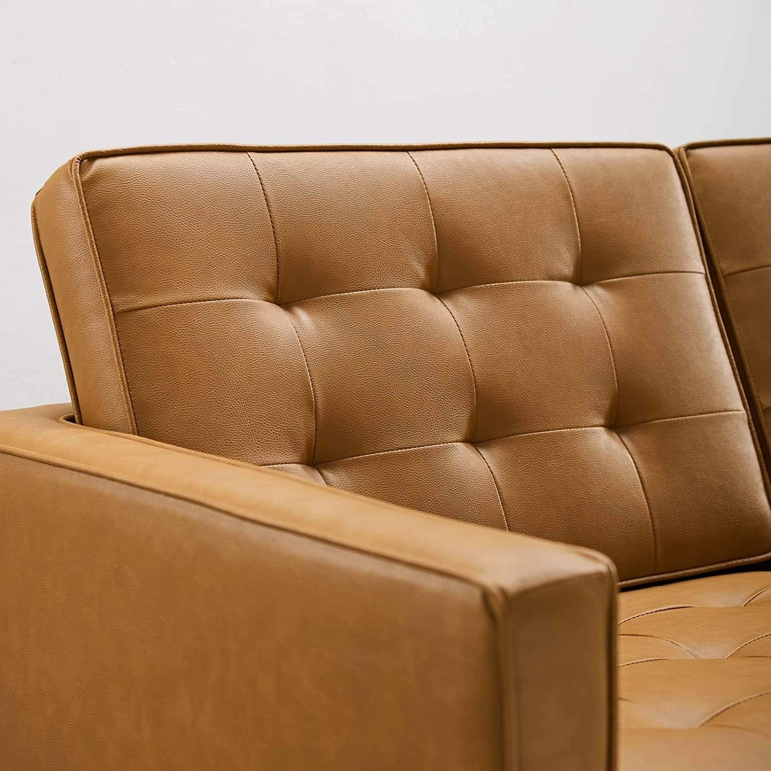 Modern Loveseat In Silver Tan Faux Leather Finish - image-3